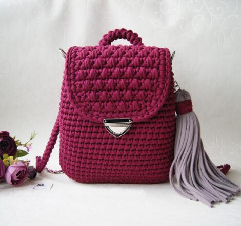 Вязаный рюкзак - трансформер (Марсала)