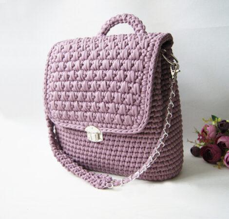 Вязаный рюкзак - трансф. (Пыльная роза)