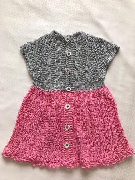 Платье (цвет комби: розово-серый)