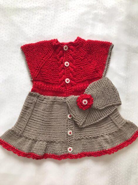Платье, ободок (цвет красно-серый)