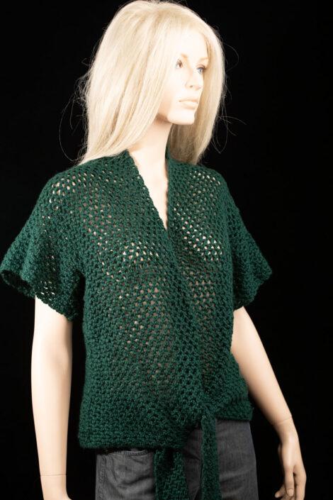 Жакет с коротким рукавом темно-зеленый