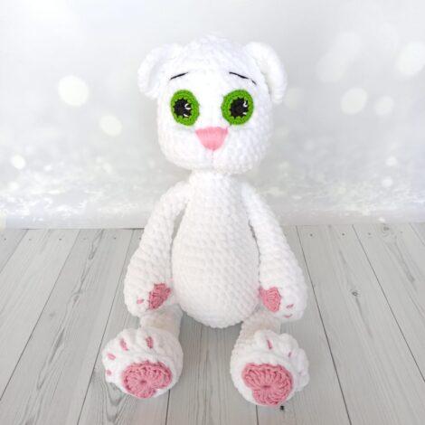 Вязаная игрушка Белый кот