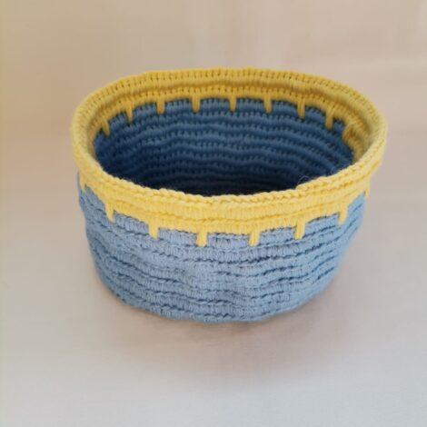Корзинка круглая большая сине-желтая