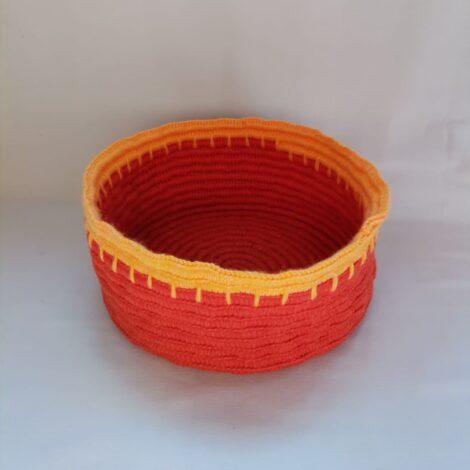 Корзинка круглая большая красно-желтая